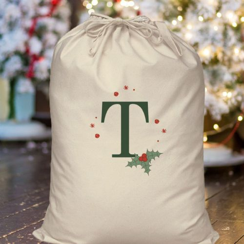 Personalised Holly Initial Cotton Sack